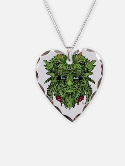 2-GreenMan Necklace Heart Charm