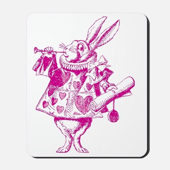 White Rabbit Herald Inked Pink Mousepad