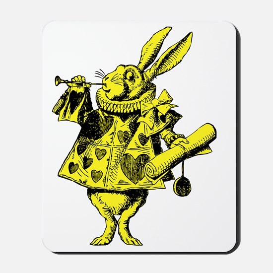 White Rabbit Herald Inked Yellow Fill Mousepad