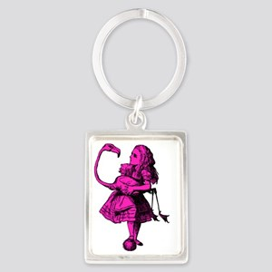 Alice and Flamingo Inked Pink Fi Portrait Keychain