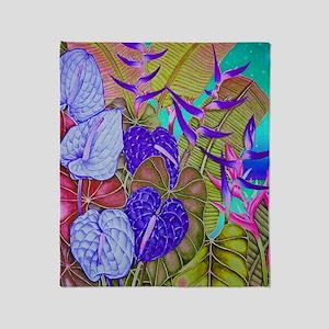 Image78 Anthurium Dusk-blue Throw Blanket