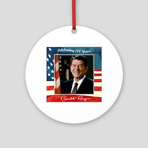 Ronald_Reagan_100th_12x12 Round Ornament