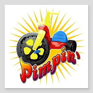 "Big Wheel Pimpin Square Car Magnet 3"" x 3"""