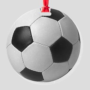 5-soccerballblack Round Ornament