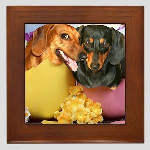 easter eggs and dogs copy Framed Tile