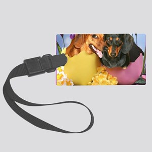 easter eggs and dogs copy Large Luggage Tag