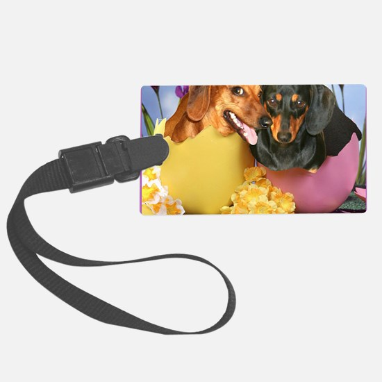 easter eggs and dogs copy Luggage Tag