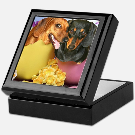 easter eggs and dogs copy Keepsake Box