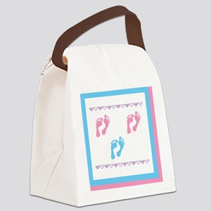 3 sets of foot prints 1b 2g Canvas Lunch Bag