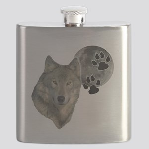 wild night wolf Flask