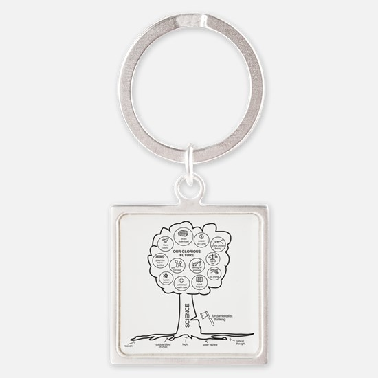 Large Hires Science Tree Square Keychain