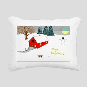 2-happy holidays Rectangular Canvas Pillow