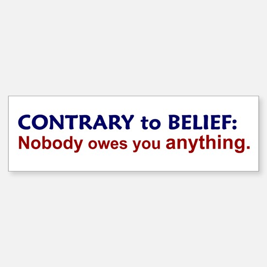 Nobody Owes You Anything Bumper Bumper Bumper Sticker