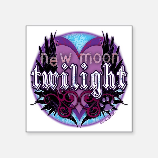 "twilight new moon winged cr Square Sticker 3"" x 3"""