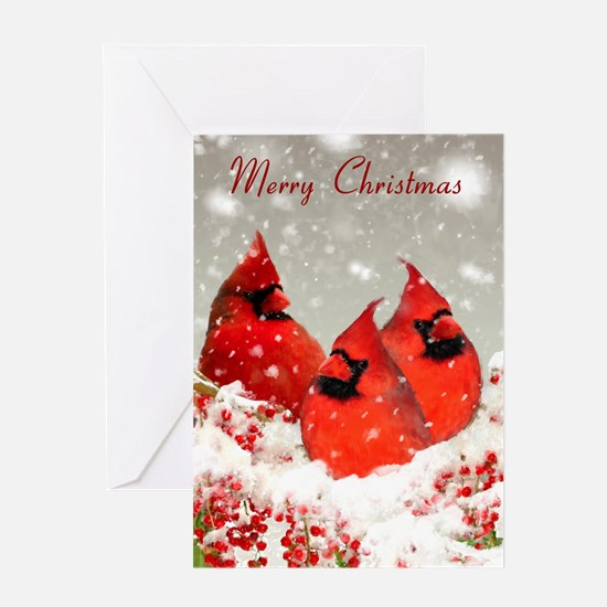 Oil Painted Red Cardinals Winter Greeting Card
