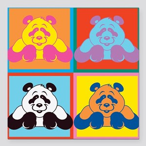 "Pop Art Panda Square Car Magnet 3"" x 3"""