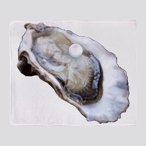 oyster with pearl Throw Blanket