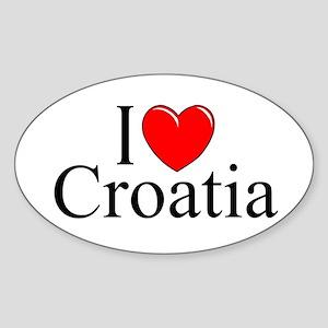 """I Love Croatia"" Oval Sticker"