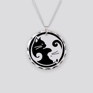 yin-yang-cats Necklace Circle Charm