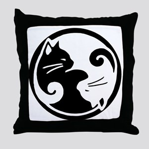yin-yang-cats Throw Pillow