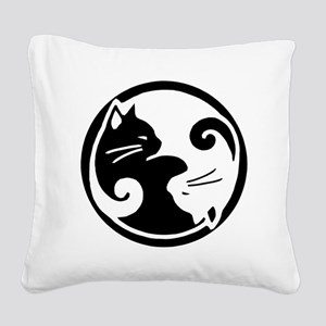 yin-yang-cats Square Canvas Pillow