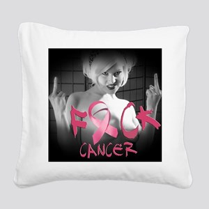F-Cancer Square Canvas Pillow