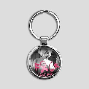 F-Cancer Round Keychain