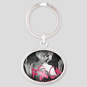 F-Cancer Oval Keychain