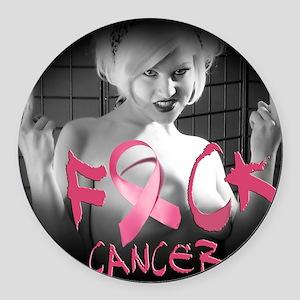 F-Cancer Round Car Magnet