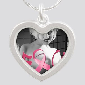 F-Cancer Silver Heart Necklace