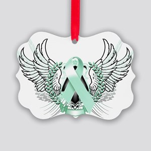Awareness Tribal Teal Picture Ornament