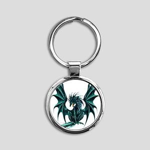 Jade Dragon Round Keychain
