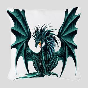 Jade Dragon Woven Throw Pillow