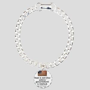 Reagan - Man is Not Free Charm Bracelet, One Charm