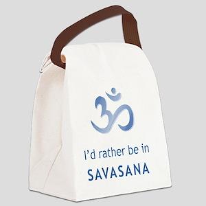 savasana blue Canvas Lunch Bag