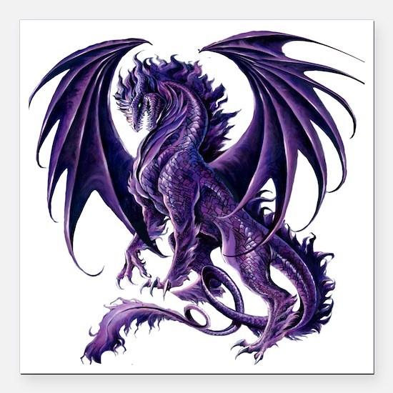 "Draconis Nox Dragon Square Car Magnet 3"" x 3"""