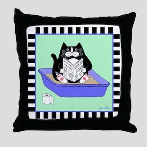 T_tux-litterbox-aqua Throw Pillow