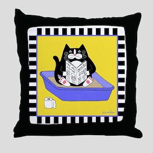 T_tux-litterbox-yllw Throw Pillow