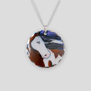 Paint Horse Luna Necklace Circle Charm