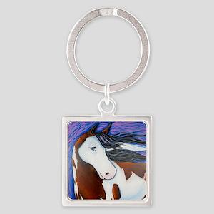 Paint Horse Luna Square Keychain