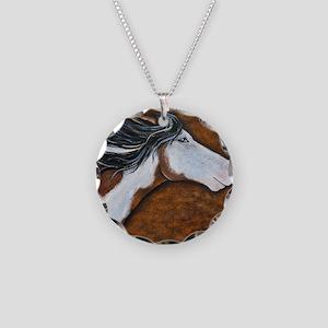 Paint Horse Golden Luna Necklace Circle Charm