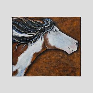 Paint Horse Golden Luna Throw Blanket