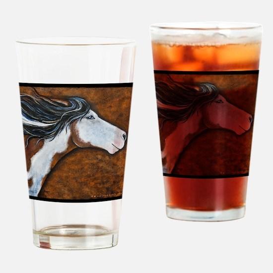 Paint Horse Golden Luna Drinking Glass