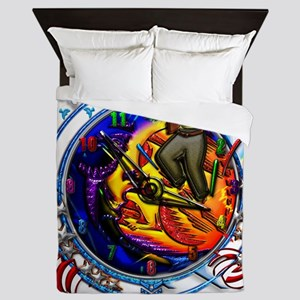 In step with time with bugs and birds  Queen Duvet