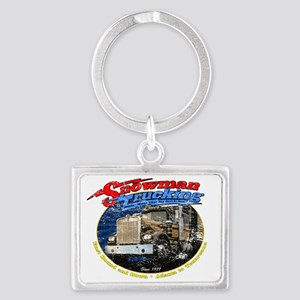 SnowmanTrucking_distress Landscape Keychain