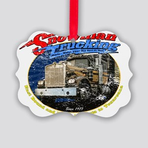 SnowmanTrucking_distress Picture Ornament