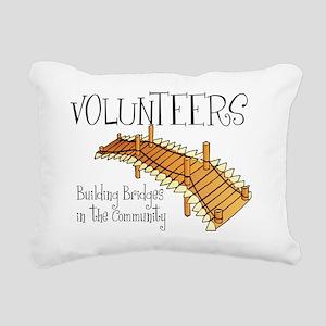 volunteers building brid Rectangular Canvas Pillow