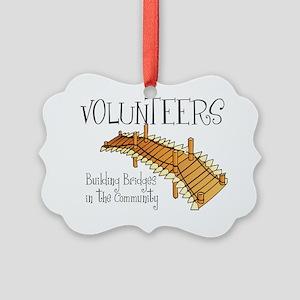 volunteers building bridges Picture Ornament