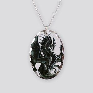 Ruth Thompsons Obsidian Dragon Necklace Oval Charm