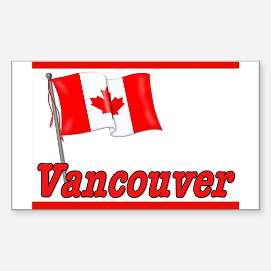 Canada Flag - Vancouver Text Rectangle Decal